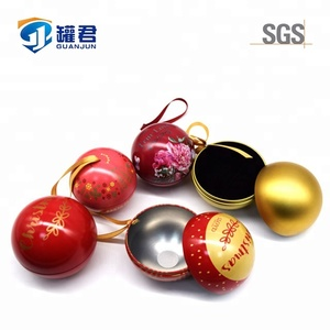 2018 colorful 85MM Christmas Decoration Round Tin Balls Metal Gift Tin Box
