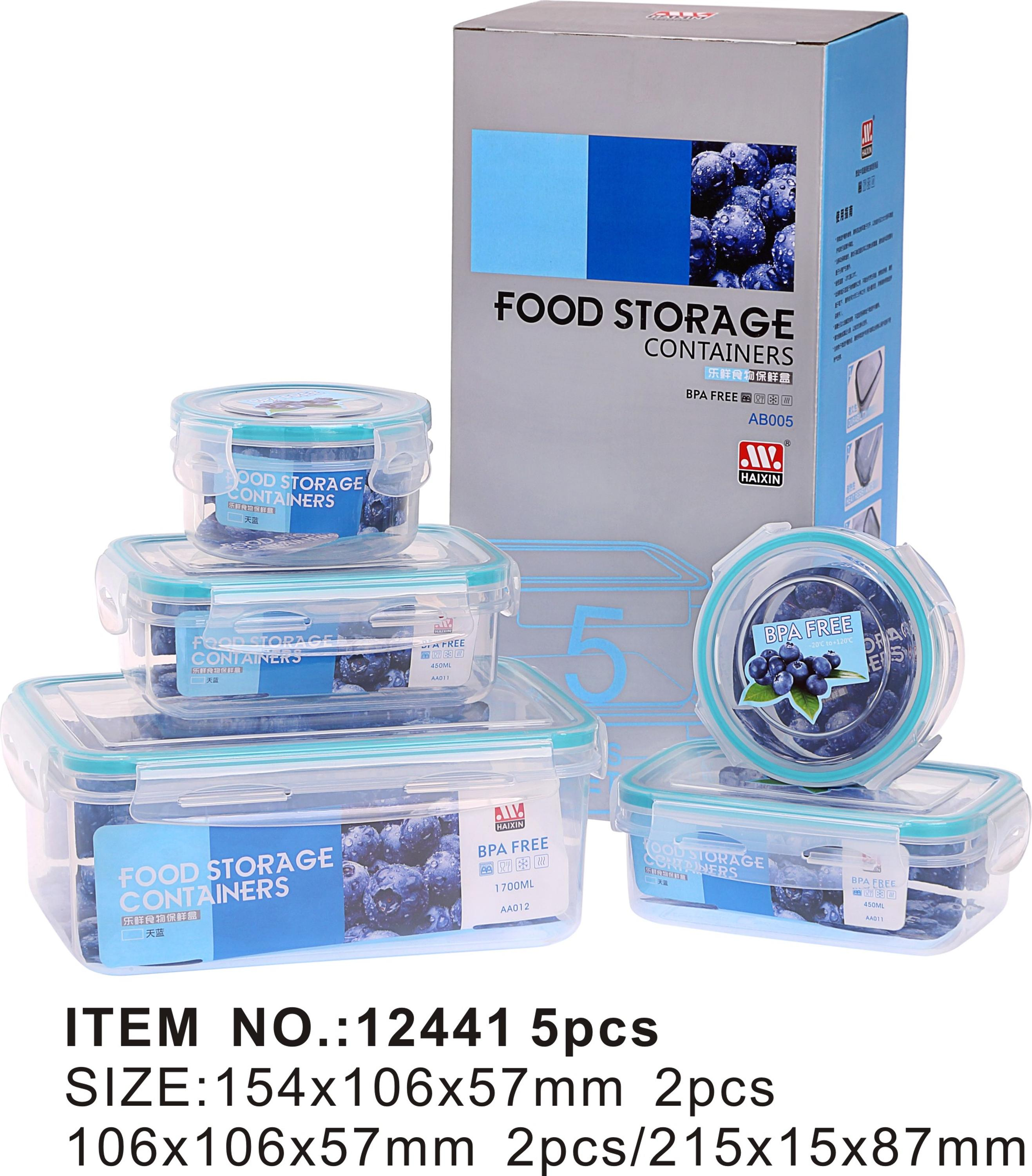 6pcs bento lunch box set household food storage box plastic with silicone in lid utility lock and lock food container