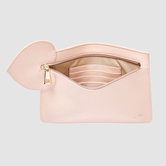 sweet style saffiano leather ladies pouch fashion leather pouch with a heart shape leather patch