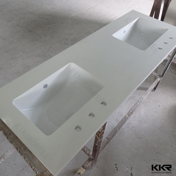 Integrated double bathroom sink countertop buy for Integrated quartz sink