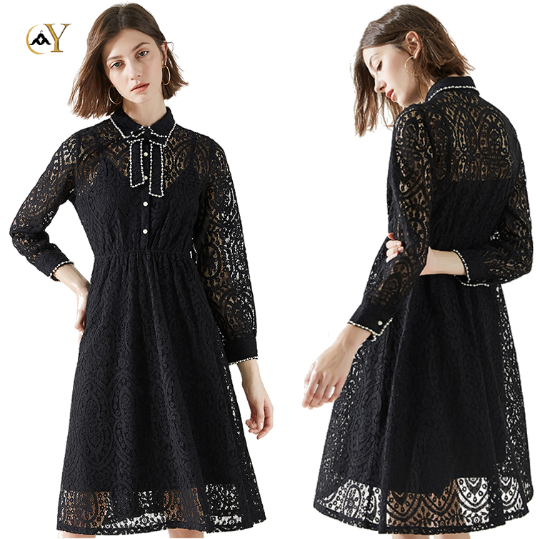 Wedding black beading collar bridal dress lace fabric for party spring long lace dress with bow tie details for women party.