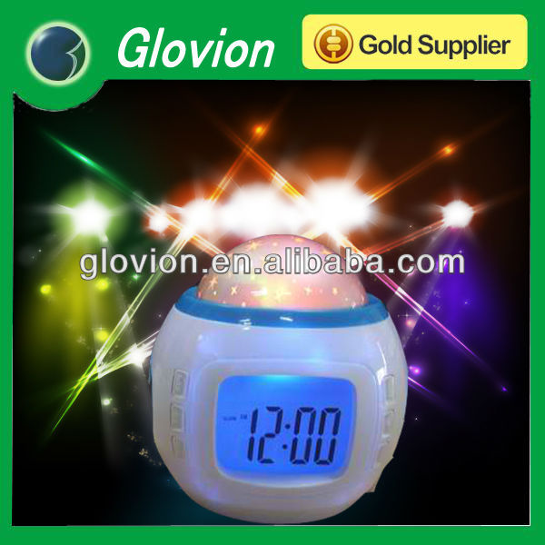 2014 Magic Projector clock with LED starshine, color changing Star Projector led light alarm Clock, Starry sky projection Clock