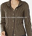Ladies Chunky Cable Cardigan Sweater
