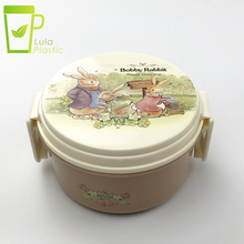 Small Plastic Box Round 300ml Cartoon Rabbit Lunch Box Portable Lunchbox Food Container Picnic Travel Double Layer Lunch Box