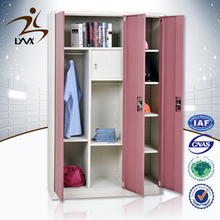 Custom design modern furniture 3 door bedroom metal wardrobe / metal wardrobe closet