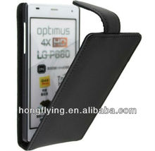 Black Flip Leather Case Cover for LG Optimus 4X HD P880