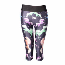 European Digital Printed Horse Sexy Milk Silk 3d printed ladies Leggings
