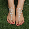 Barlaycs Summer Style Ankle Bracelets Fine Jewelry Water Drop Rhinestone Beaded Foot Chain FC069
