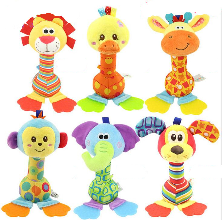 2016 New Baby infant toy Cartoon Animal Sound Toys stick Rattle Hand Enlightenment Plush Doll