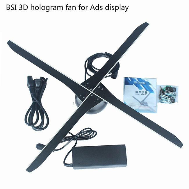 HD 4 blades new naked eye 3D Hologram Display custom professional LED 3D holographic projector display fan