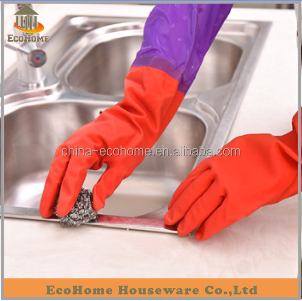 EC071AM-1 Latex household glove,rubber glove with fleece lined
