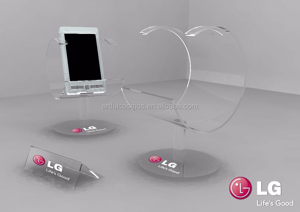 Single Clear Mobile Phone Stands, Lucite Smartphone Display Stand