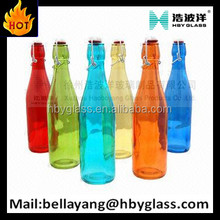 PRETTY COLORED 750ML 200ML GLASS ETCH BEVERAGE BOTTLE FOR LUSCIOUS VODKA WITH SWING CAP