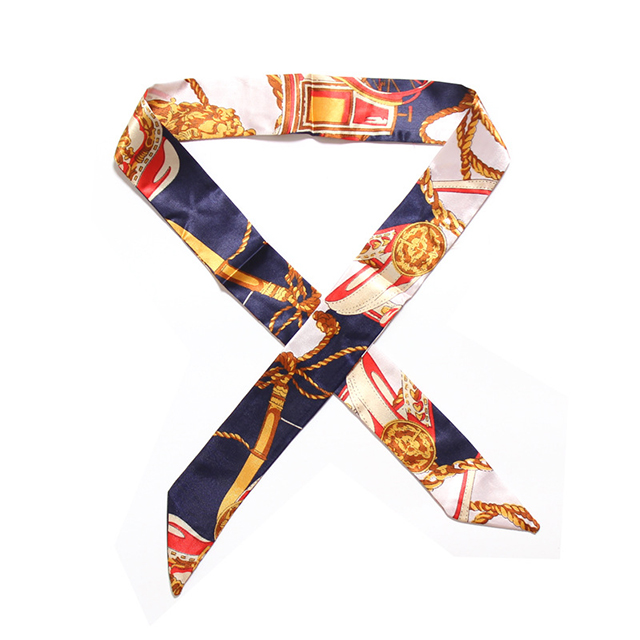 Wholesale Customize Cheap Printed Women Fashion Head Tie bag handle Silk <strong>scarves</strong>