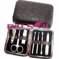 Leather bag beauty nail manicure set. pocked set beauty care