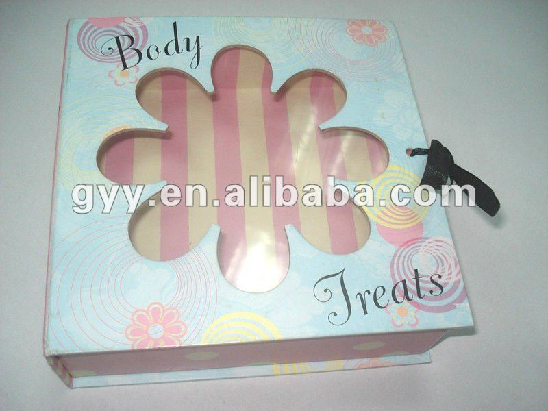 Beautiful light blue cosmetic box/paper gift box/packaging box with PVC window& black ribbon