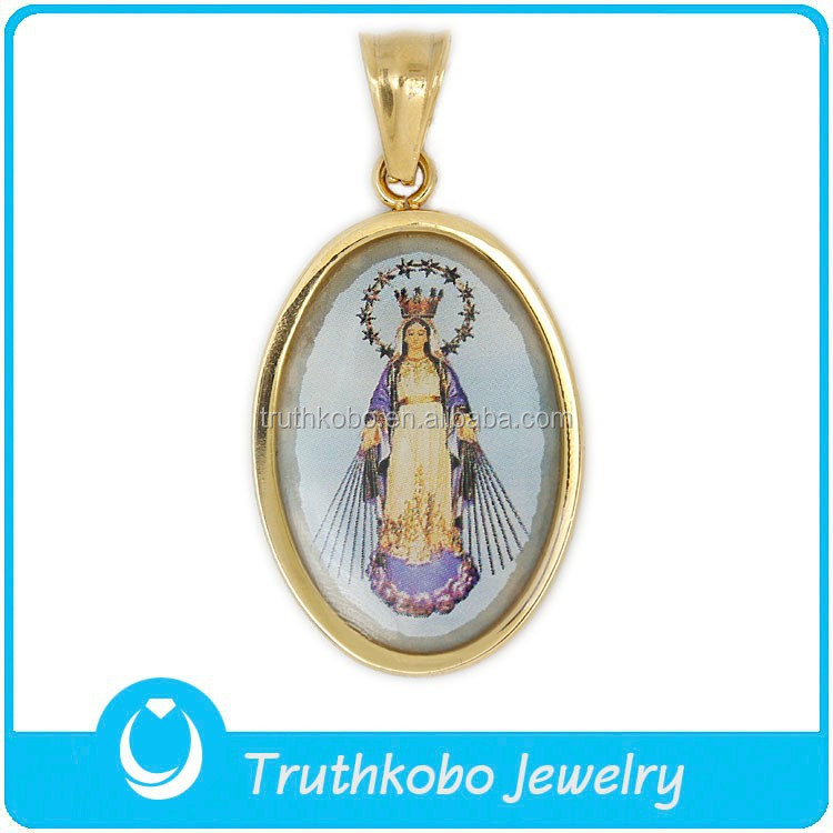 TKB-P0639 China Good Quality Gold Plated Blessed Icons of The Virgin Mary Praying Pendant Medal for Sale