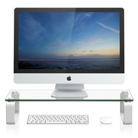 Adjustable glass computer monitor riser stand