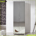 Full-length wooden mirror shoe storage with double doors China supplier