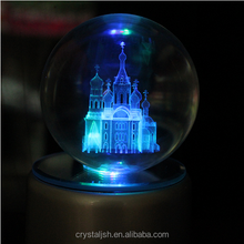 Wholesale personalized 3d laser engraving crystal ball with light led base for holiday decoration