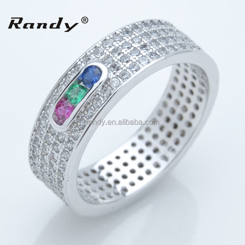 Exquisite 925 Sterling Silver Three Colour Genuine Gemstone Ring