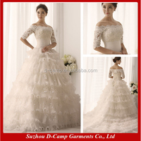 WD095 Off the shoulder short sleeves puffy ball gown middle east elegant princess wedding dresses in dubai