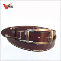 Embroidery brown cowboy genuine leather belt