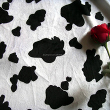 polyester animal print cow design velboa fleece fabric
