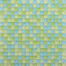 Fluorescent mosaic/ice crackle glass mosaic tile/green blue glass mosaic tile