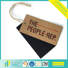 Custom private price tag brand name swing hang tags with eyelet for garment