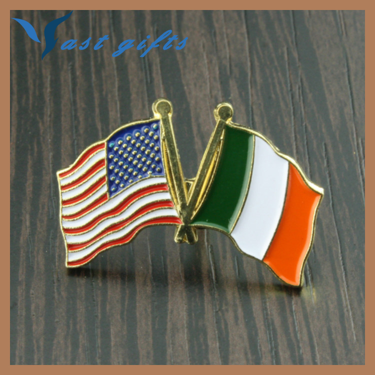 high quality USA Ireland flag metal lapel pin