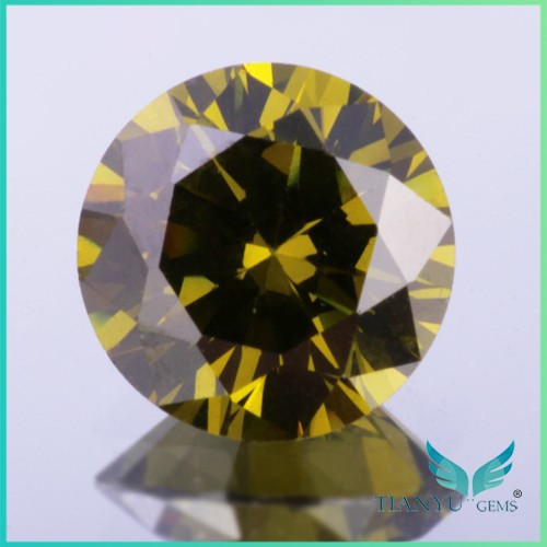 Wholesale round brilliant faceted light olive american gemstone aaa 2mm cz loose stone for jewelry making free sample