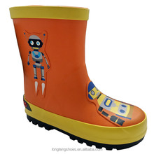 Orange robot print cheap kids rubber rain boots