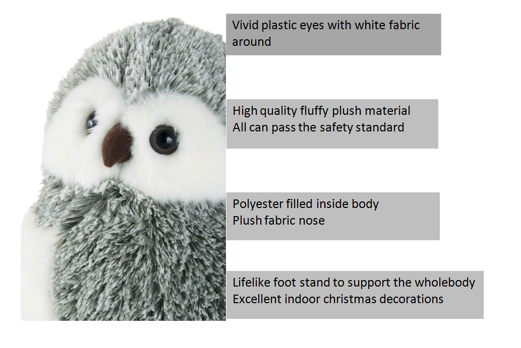 Houseware decoration products factory custom personalized plush toy owl christmas ornaments
