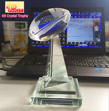Free Customized Design American Football Trophy K9 Crystal Trophy