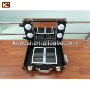NEW DESIGN lights aluminum makeup case with drawers,bags woman,metal tool box with stands,legs,lights,mirror.