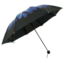 Promotional Custom Logo flower outside black vinyl inside 3 fold umbrella