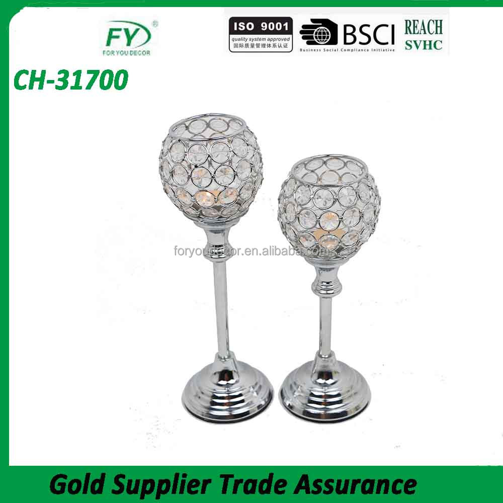 CH-31700 Wholesale Wedding Decorative Crystal Tall Candle Glass Holders