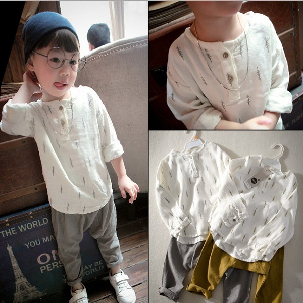 F40264A Children clothing sets korean style latest design soft linen boys clothing sets