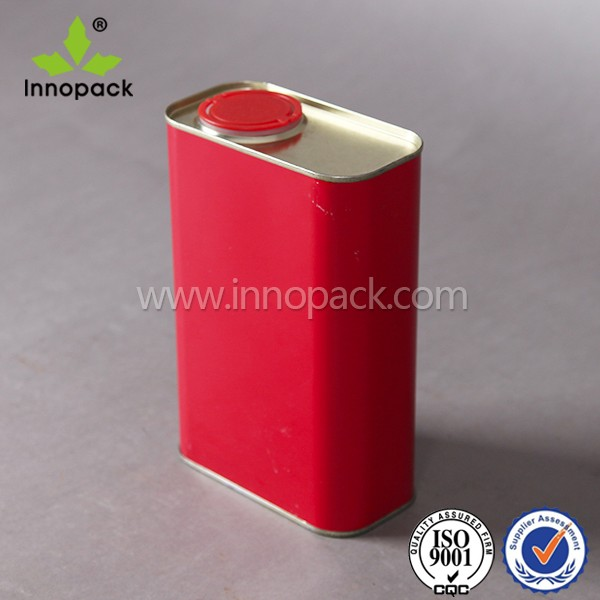 empty 1 liter square custom paint tin cans with screw cap wholesale