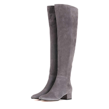 winter fashion grey suede over knee high low heels leather boots women