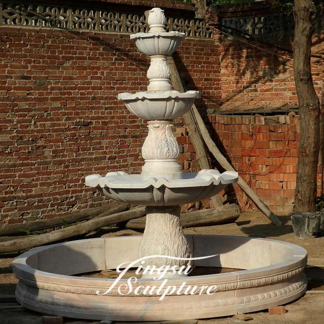 Garden decoration hand carved natural marble classic 3 tier water fountains