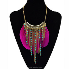 New Bohemia Fashion Popular Feather Beads Tassel Gold Plated Choker Necklace