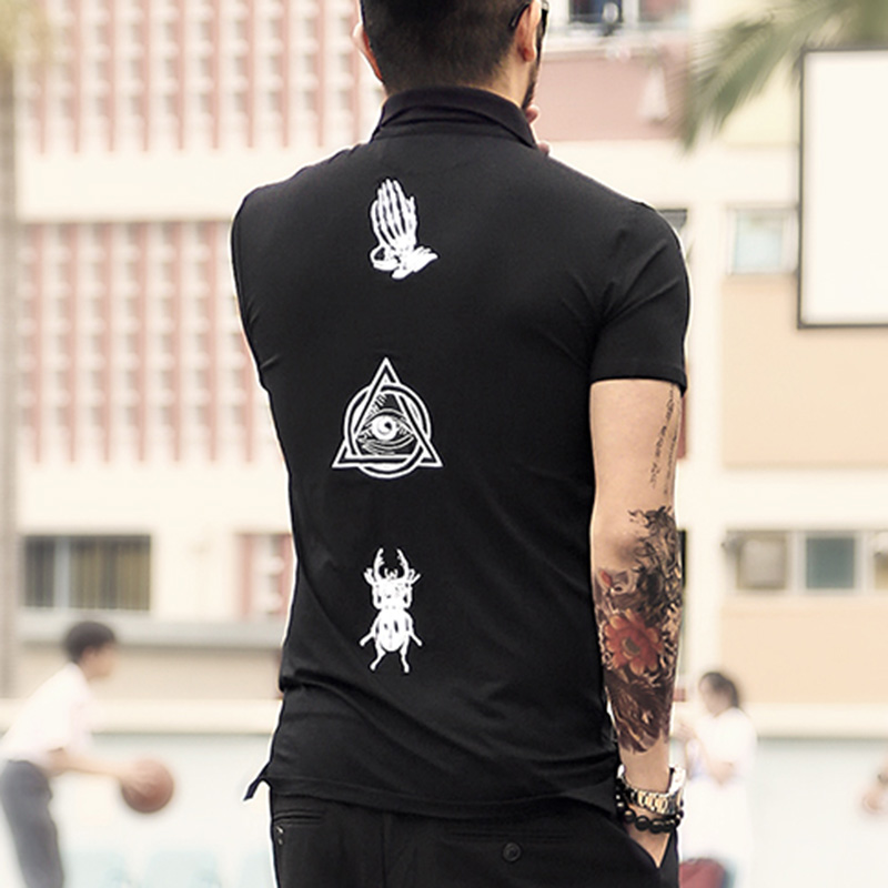 Summer new style street back embroidery men's casual polo shirt black short sleeve T-shirt brand clothing
