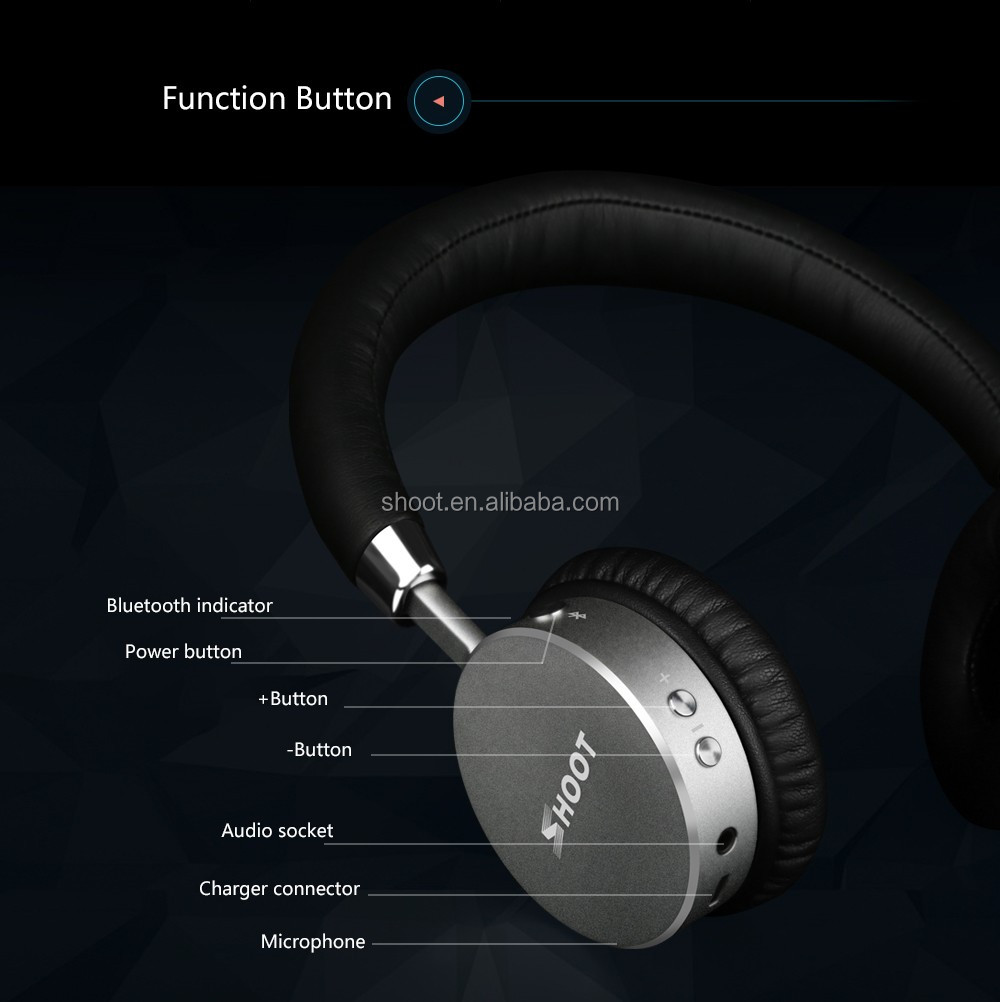 Wholesale Shoot Wireless Bluetooth Headset with 4.0 Stereo and Microphone Wireless headphone for iPhone Music