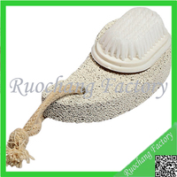 Triangle shape white color foot pumice stone with nylon brush