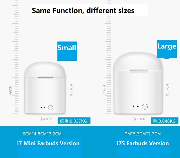 TWS Mini Invisible In-Ear Earbuds i7s Truly Wireless Earphone with Charging case