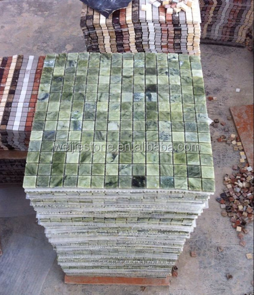 Natural green marble mosaic decorative garden paving stone mosaic