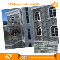 villa decorative rough stone look exterior wall tile 30x60 commercial building material