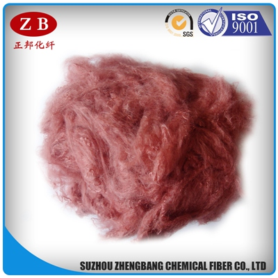 PET flakes recycled polyester staple fiber in maroon